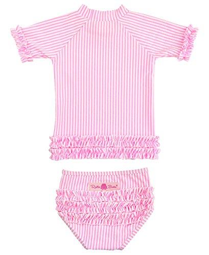 RuffleButts Little Girls Hot Pink Seersucker Ruffled Rash Guard Bikini - Hot Pink Seersucker - 5 Hot Bikini Swimwear