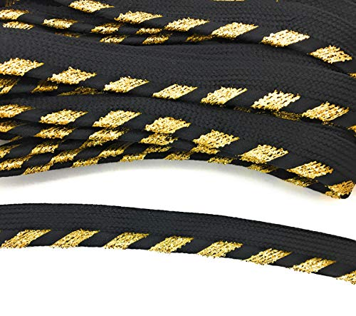 Metallic Gold/Black Cord-Edge Spiral Piping,Trim, Lip Cord for Clothing Pillows, Lamps, Draperies 5 Yards