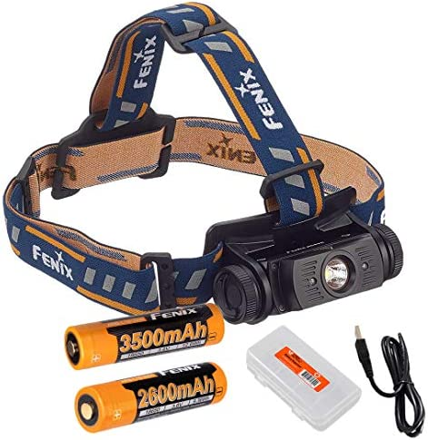 Lumen Tactical High Capacity Battery Bundle Fenix HL60R 950 Lumens Rechargeable LED Headlamp with Extra 3400mAh Rechargeable Battery, USB Charging Cable Battery Organizer