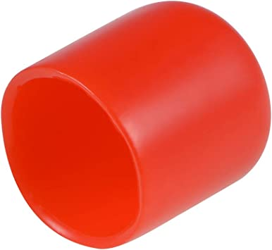 Screw Thread Protector 13mm ID Round End Cap Cover Red Tube Caps 100pcs