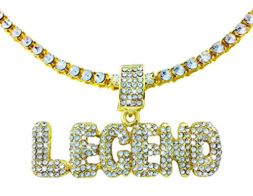 (Exo Jewel Iced Out Gold Legend Bubble Word Pendant with 24