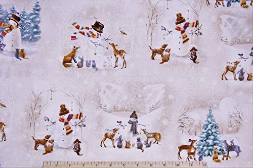 Christmas Woodland Friend Snowman Scenes in White/Tan 100% Premium Cotton Fabric by The Yard