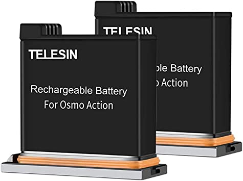 TELESIN 2-Pack Replacement Battery and Triple Storage USB Charger Case with Charging Cable for DJI Osmo Action Camera Compatible with Original Batteries 1 x Charger + 2 x Batteries