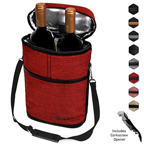 (Premium Insulated 2 Bottle Wine Carrier | Wine Tote Bag with Shoulder Strap and Corkscrew Opener | Padded Wine Cooler Carrying Bag for Travel -HRed)