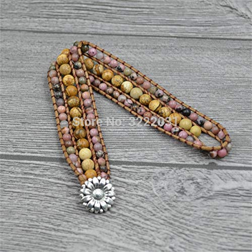 BNNNEA Wide Beaded Cuff Bangles For Women Handmade Naturals Stones Multi Layers Bohemian Bracelets On Wax Leather Vintage Boho Jewelry
