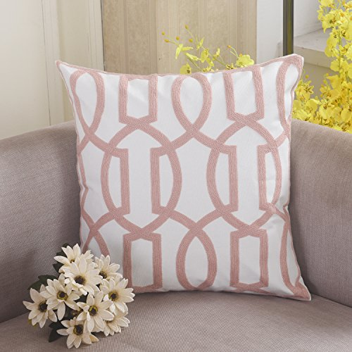 Home Brilliant Trellis Wave Lattice Pillowcase Embroidery Cushion Cover Indoor and Outdoor, 18x18, Blush - Blush Maple