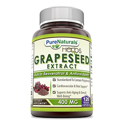 Pure Naturals Grapeseed Extract 400 mg Capsules, 120 Count