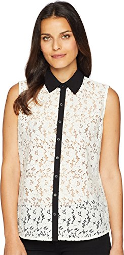 Tommy Hilfiger Women's Sleeveless Lace Pullover Top Ivory/Black ()