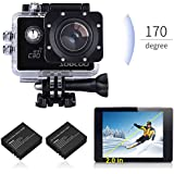 Sports Camera, SOOCOO 4K Action Camera 20MP 2.0 Inch Waterproof Diving Camera with 2 Batteries and Accessories Kit Included - Black + Wifi (Memory Card Not Included)
