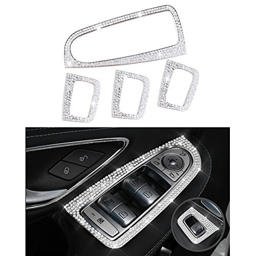 - 1797 Mercedes Accessories Benz Parts Trim Window Control Switch Button Regulator Covers Decals Stickers Interior Visors Decorations W205 X253 C Class GLC AMG Women Men Bling Crystal Silver 4pcs