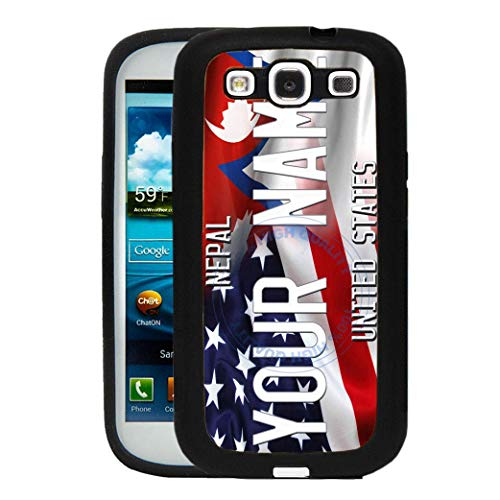 BRGiftShop Personalize Your Own Mixed USA and Nepal Flag Rubber Phone Case For Samsung Galaxy S3