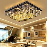 7PM W39″ x D32″ Modern Vertical Bar Rectangle Clear K9 Crystal Chandelier Ceiling Lamp Lighting Fixture 24 Lights for Dining Living Room For Sale
