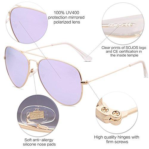 Marco Dorado Violeta SJ1054 Aviador Hombres Gafas Para Mujeres Espejo Clásico Lentes Marco SOJOS Polarizadas Sol Y De Lente C4 Metal HaAxf