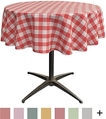 LA Linen Poly Checkered Round Tablecloth, 58-Inch