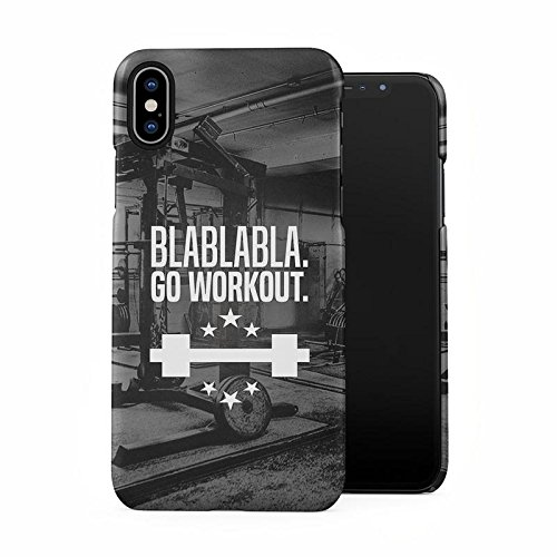Gym Weightlifting Hard Workout Blablabla Go Workout Quote Plastic Phone Snap On Back Case Cover Shell Compatible with iPhone X, iPhone Xs