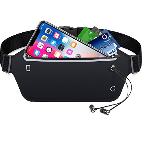 Running Belt,Gritin Waist Pack Fitness Belt W Headphone Hole - Soft...