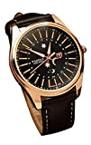RoseSummer Men's Automatic Luminous Watch with Leather Band (Brown Dial+Black Strap)
