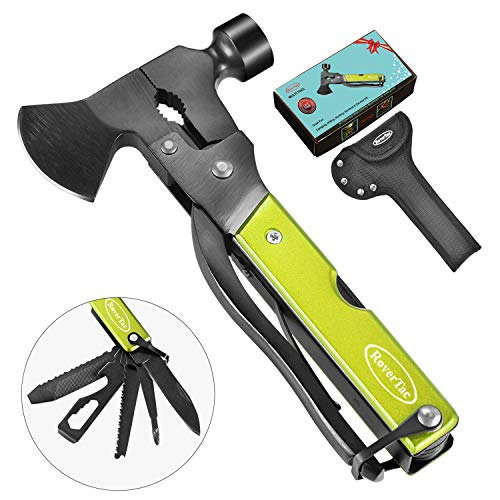 🥇 RoverTac Multitool Camping Tool Survival Gear Handy Gifts for Dad Men UPGRADED 14 in 1 Stainless Steel Multi tool with Hammer Axe Knife Plier Screwdrivers Saw Bottle Opener Durable Sheath