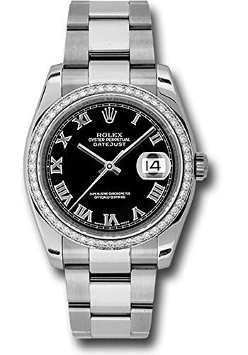 Rolex Datejust 36mm Stainless Steel Case, 18K White Gold Bezel Set With 52 Brilliant-cCt Diamonds, Black Dial, Roman Numerals, And Stainless Ssteel Oyster Bracelet.