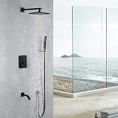 Maxsum Shower System with High Pressure 8 Inch Square Rainfall Shower Head,Handheld Shower head, Tub Spout and Shower Faucet valve, Bathroom Luxury Rain Mixer Shower Combo Set Wall Mounted,Black,Brass