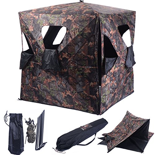 Review Tangkula Ground Hunting Blind Portable Deer Pop Up Camo Hunter Weather Proof Mesh Window