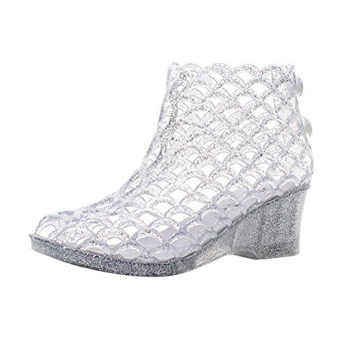 Omgard Womens Summer Heels Sandals Peep-Toe Wedge Glitter Jelly Shoes Platform 3 Color