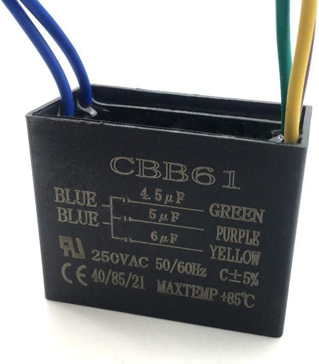 2 Pieces CBB61 5 Wire Ceiling Fan Capacitor 4.5uf+5uf+6uf 250VAC