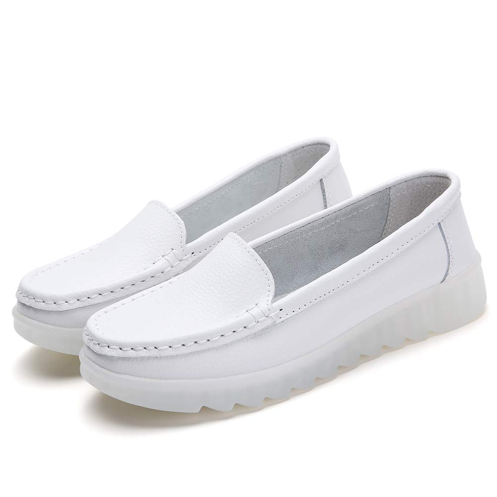 32c8f080d0e6c ZYEN Women's All White Nursing Shoes Comfortable Slip On Nurse Work Wedge  Leather Loafers