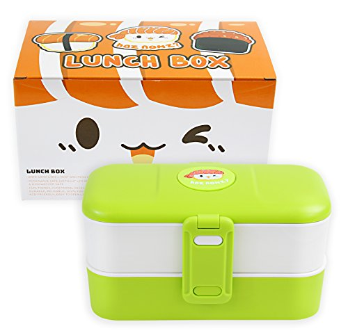 Japanese Style Kawaii Bento Lunch Box for Kids or Adults - Leakproof, Stackable 2 Layer Food Container with Stainless Steel Silverware Cutlery - BPA Free, Microwave & Dishwasher Safe Green Bay Packers Soup