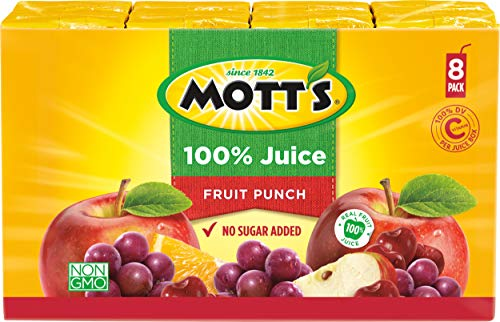 Mott's 100% Fruit Punch Juice, 6.75 Fluid Ounce Box, 8 Count (Pack of 4)