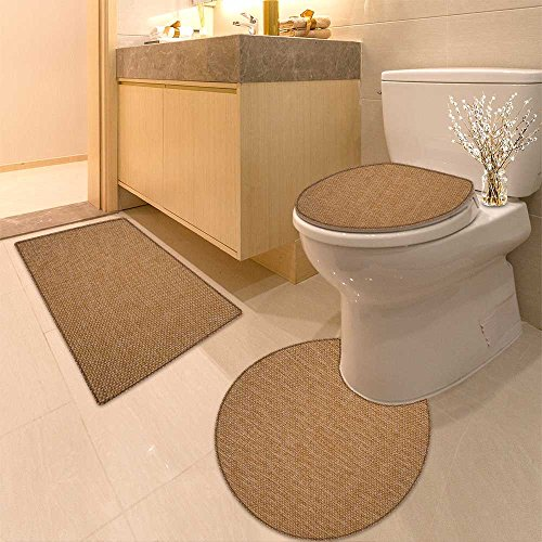 3 Piece Bathroom Rug Set Recycled wood texture Extra Soft Memory Foam Combo - Rug, Contour Mat and Lid Cover
