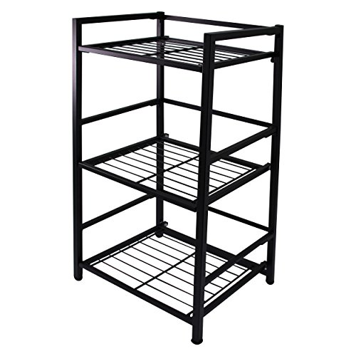 Flipshelf-Folding Metal Bookcase-Small Space Solution-No Assembly-Home, Kitchen, Bathroom And Office Shelving-Black, 3 Shelves, Narrow - Narrow 3 Shelf Bookcase