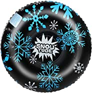 Snow Tube 47 Inch Durable Large Inflatable Snow Sled with Reinforced Handle 0.6mm Heavy Duty Sledding Tube for