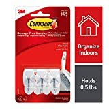 Command Wire Hooks, Small, White, 3-Hooks