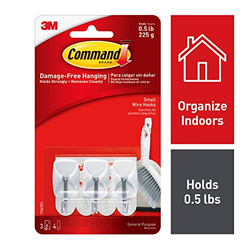 Command Small Wire Hooks, White, 3-Hooks, 4-Strips, Organize Damage-Free