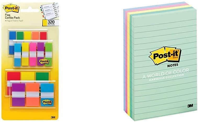 Post-it Flags Assorted Color Combo Pack, 320 Flags & Notes, 4 in x 6 in, 5 Pads, America's #1 Favorite Sticky Notes, Marseille Collection, Pastel Colors (Pink, Mint, Yellow), Recyclable (660-5PK-AST)