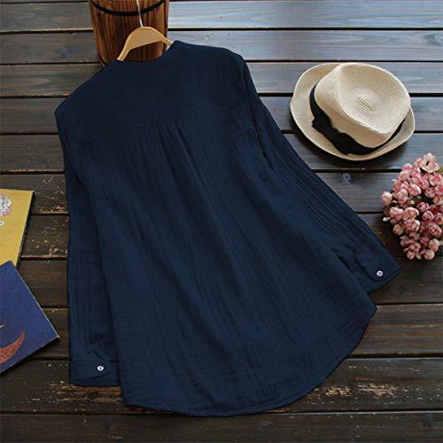 Chemisiers Printemps JackenLOVE Bleu Chemises Longues Mode Shirts Automne Tee Tops Long Femmes Blouses Casual Manches Hauts wHdqId