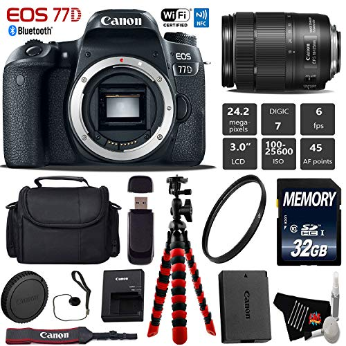 Cheap Canon EOS 77D DSLR Camera with 18-135mm is USM Lens + Flexible Tripod + UV Protection Filter + Professional Case + Card Reader – International Version