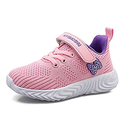 Zhenghewyh Kids Tennis Shoes Boys Lightweight Sports Running Shoes Girls Athletic Shoes Breathable Sneakers for Little Kids and Big Kids Pink Size: 1 Little Kid