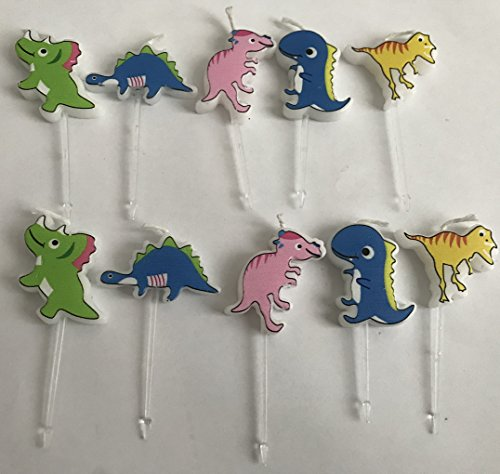 Ecape Cartoon Animal Party Candles Cute Dinosaurs Candles Handmade Craft Candles Western Cake Decoration Cake Candles 10 Candles A Set - Dinosaurs by Ecape (Image #3)