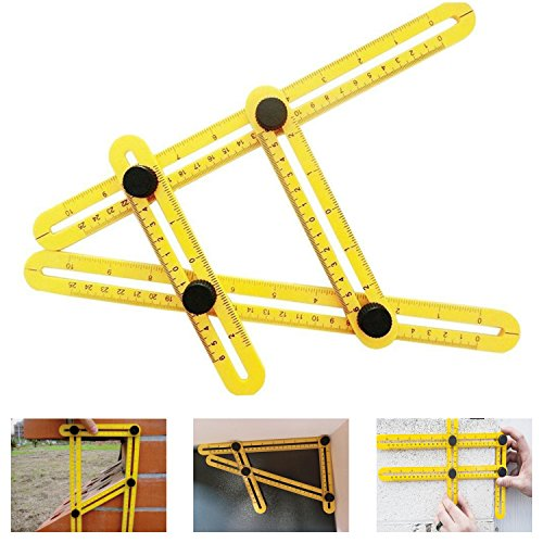 Angleizer Template Tool Multi Angle Measuring Ruler | Tools Angle-izer Layout | Angles & Shapes Finder | With Plastic Screw Threads I For Professional & General DIY Wood Tile Flooring, Yellow