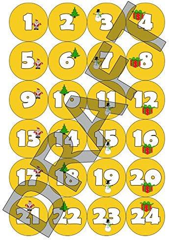 24 48 of 72 kerst adventskalender stickersAfbeeldingen en NummersGoud Geel 48