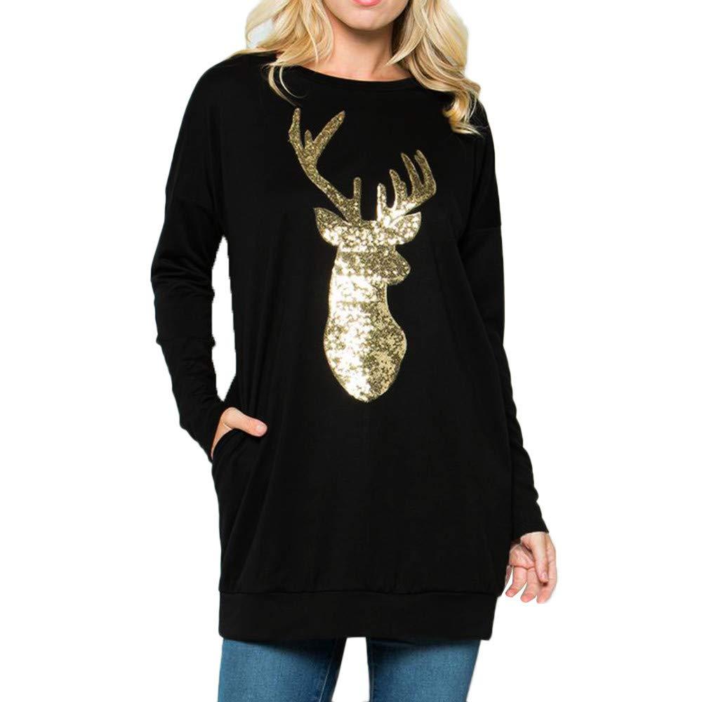 Inverlee Women Christmas Long Sleeve Wapiti Blouse Sweatshirt Pullover Casual Tops
