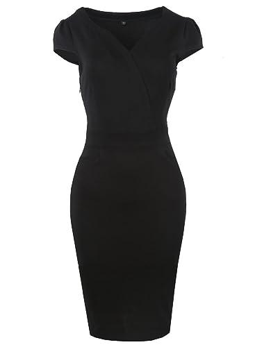 Oxiuly Women's V Neck Retro Business Casual Cotton Pencil Work Midi Dress OX173