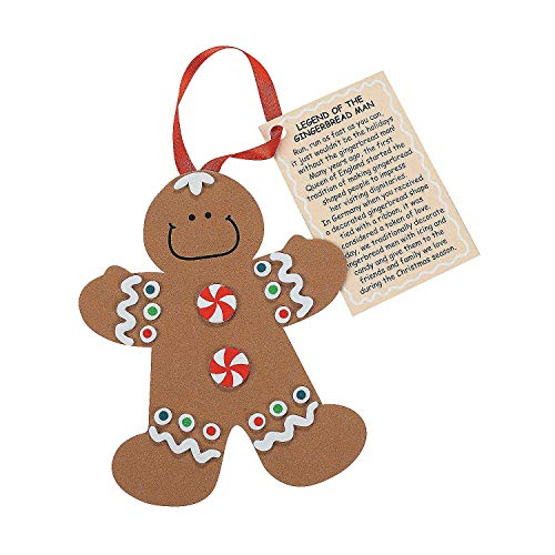 Fun Express Legend The Gingerbread Man Foam Ornament Craft Kit-Makes 12