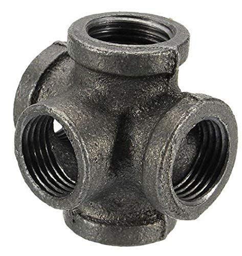 """1/2"""" 3/4"""" 1"""" 5 Way Pipe Fitting Malleable Iron Black Outlet Cross Female Tube Connector by AdvancedShop (3/4 inch)"""