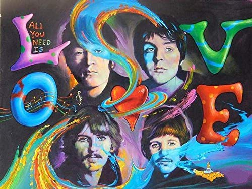 DIY 5D Diamond Painting by Number Kit for Adult,The Beatles Rock Band Full Drill Diamond Embroidery Kit Home Wall Decor 16x12 Inch - 423