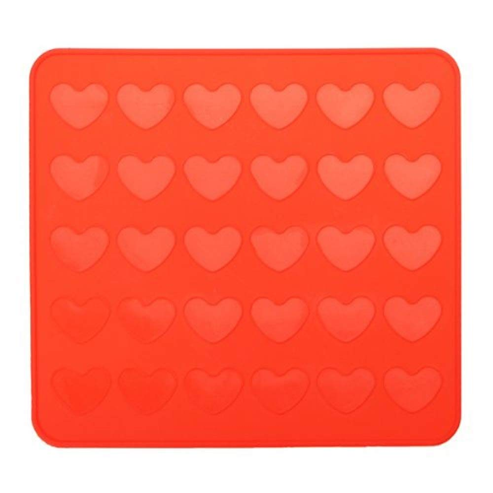 Allforhome 30-tray Heart Silicone Macaroon Mat Homemade Pastry Cookie Sheet Baking Mat LEPEA4878