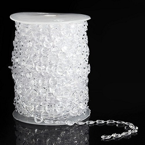 99ft Diamond Strand Acrylic Clear Crystal Like Beads by the Roll for Wedding Party Decor Decorations Diamond Cut Bead Fringe