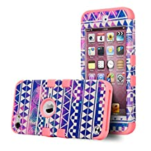 iPod Touch 6 Case,iPod Touch 5 Case,ULAK [Colorful Series] 3 in 1 Anti-slip iPod Touch Case Hard PC+Soft Silicone Hybrid Dust Scratch Shock Resistance Cover for iPod touch 5 6th Gen(Reverie/Neo Red)